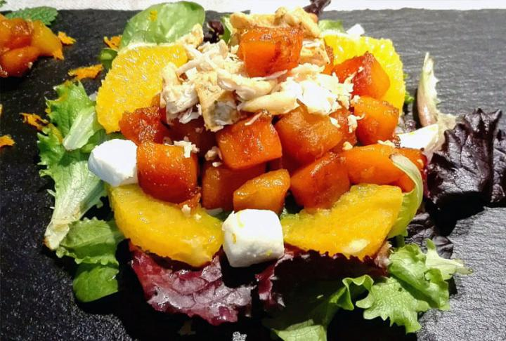 CARAMELISED SQUASH SALAD WITH ORANGE VINAIGRETTE